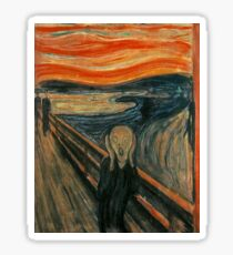 SCREAM, The Scream, Edvard Munch, Man at bridge holding head with hands and screaming. on BLACK Sticker