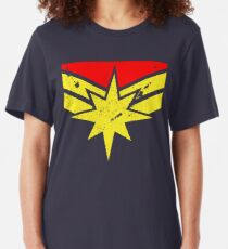 Distressed Super Heroine Slim Fit T-Shirt