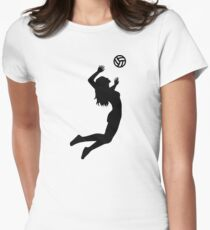 Volleyball jumping girl woman Women's Fitted T-Shirt