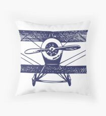Vintage Airplane - Born to Fly Throw Pillow