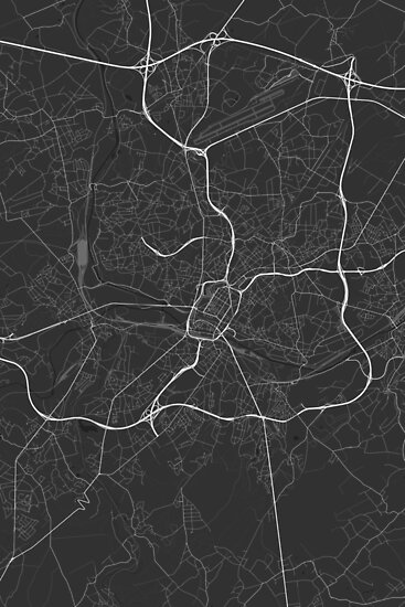 Charleroi, Belgium Map. (White on black) von Graphical-Maps