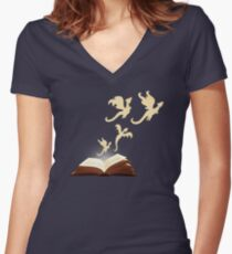 Book Dragons Women's Fitted V-Neck T-Shirt