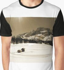 Little Snowy Hut by Mountains Graphic T-Shirt