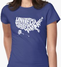 USA White Women's Fitted T-Shirt