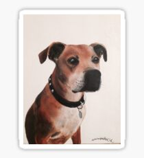 Staffordshire bull terrier painting oil on canvas Sticker