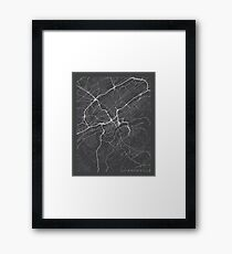 Knoxville Map, USA - Gray Framed Print