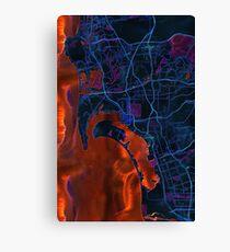 Dark map of San Diego metropolitan area Canvas Print