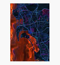 Dark map of San Diego metropolitan area Photographic Print