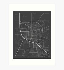 Denton Map, USA - Gray Art Print
