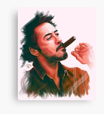 Robert Downey Jr. with cigar, digital painting  Canvas Print