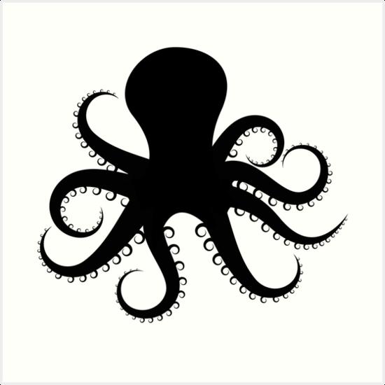 Quot Octopus Silhouette Quot Art Prints By Mrrodriguez Redbubble