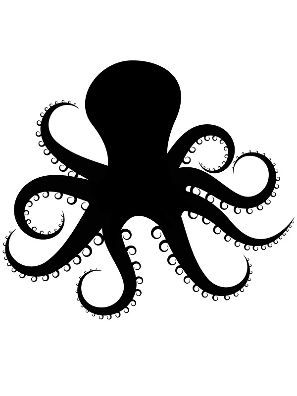 octopus silhouette stickers by mrrodriguez redbubble. Black Bedroom Furniture Sets. Home Design Ideas