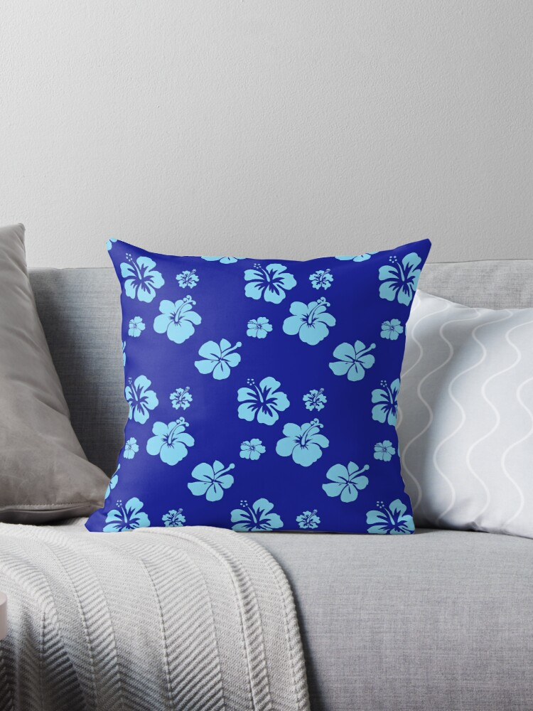 Deep Blue and Aqua Hibiscus Pattern by Greenbaby