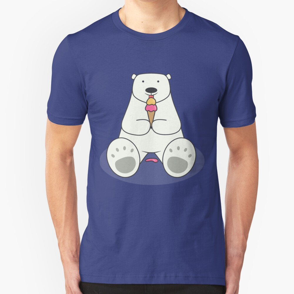 Ice Cream Lover Polar Bear Slim Fit T-Shirt
