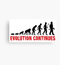 Fire Fighter Evolution Continues Funny Silhouette Canvas Print