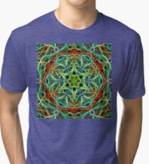 Feathered texture mandala in green and brown Tri-blend T-Shirt