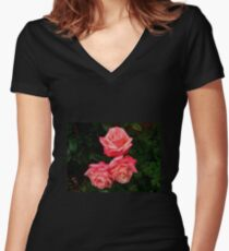Blushing Rose Beauties Women's Fitted V-Neck T-Shirt