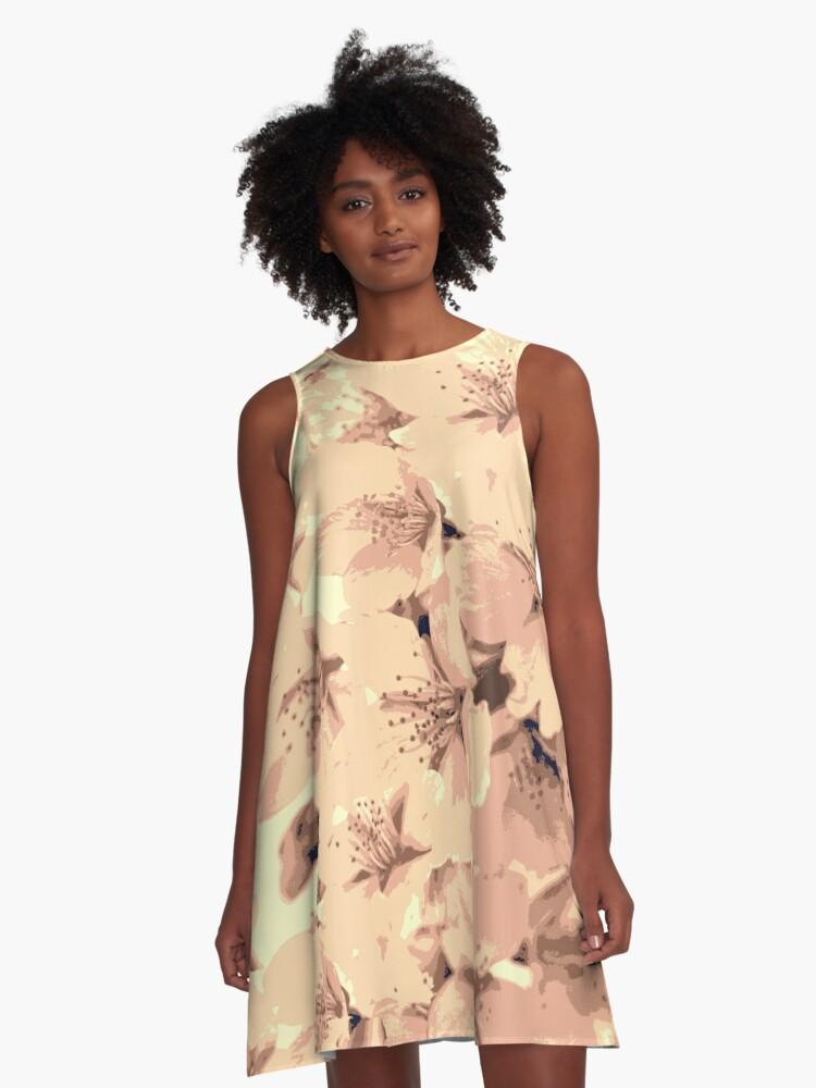 Vintage Peach Pink Cream Cherry Blossoms Illustration A-Line Dress Front