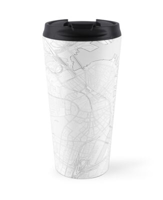 Simple map of Boston city center Travel Mugs by Mapcandy Redbubble
