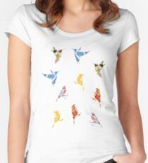 Vintage Wallpaper Birds on Mint Green Women's Fitted Scoop T-Shirt