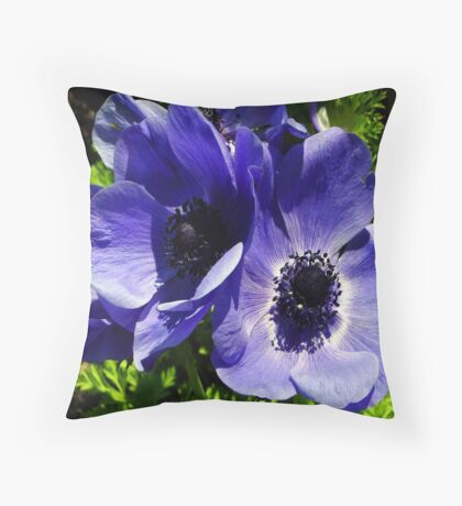 Two Blue Mauve Anemone - Close Up Windflowers Throw Pillow