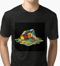 Melting Rubix Cube  Tri-blend T-Shirt