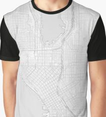 Simple map of Seattle city center Graphic T-Shirt