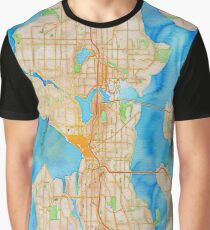 watercolor map of Seattle metropolitan area Graphic T-Shirt
