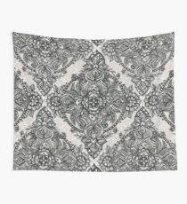 Charcoal Lace Pencil Doodle Wall Tapestry