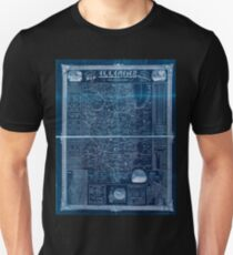 0105 Railroad Maps Rail road and county map of Illinois showing its internal improvements Inverted T-Shirt