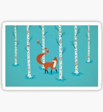 Fox - Owl - Birch Trees  Sticker