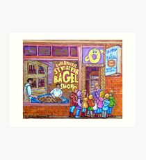 ST.VIATEUR BAGEL WITH CHILDREN MONTREAL STREET SCENE PAINTING Art Print
