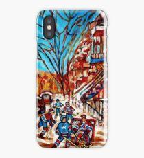 Street Hockey Painting Winter City Scene Verdun Montreal Staircase Canadian Art  iPhone Case/Skin