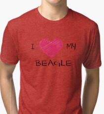 I Love My Beagle Cute Dog Lover Design Tri-blend T-Shirt