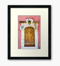 Vintage door in Bormes les Mimosas, France Framed Print