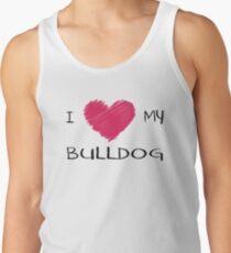 I Love My Bulldog Cute Dog Lover Design Tank Top
