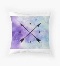 Compass Watercolor Throw Pillow