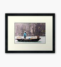 Rain & Rowboat: Life in Halong Bay, Vietnam  Framed Print