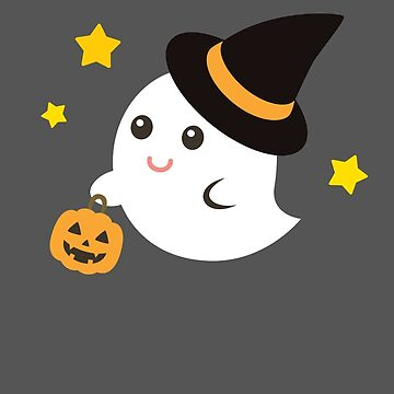Cute Kawaii Ghost Halloween Print Graphic Funny by JapaneseInkArt