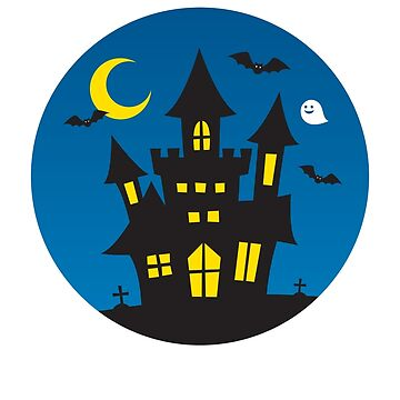 Kids Cute Halloween Ghost Haunted House Graphic Cute by JapaneseInkArt