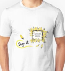 good idea inscription in the black box surrounded by yellow background Unisex T-Shirt