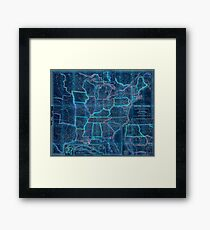 0016 Railroad Maps A new map of the United States Upon which are delineated its vast works of internal communication routes across the continent c showing also Canada and Inverted Framed Print