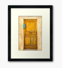 Vintage Door with blue post box in Saint Tropez, France Framed Print