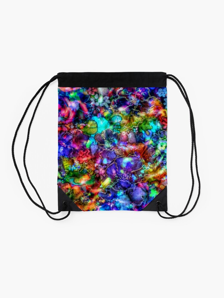 Alternate view of Blue Floral Abstract Drawstring Bag