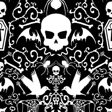 Halloween All the Goth  Everything Damask in Black & White by lilibat