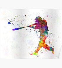Baseball-Spieler, der einen Ball schlägt Poster