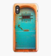 Vintage blue door iPhone Case/Skin