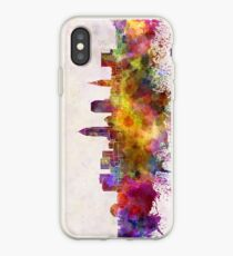 Cleveland skyline in watercolor background iPhone Case