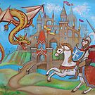 Knight, dragon and castle  by elinakious