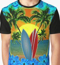 Blue Surfing Sunset Tiki Graphic T-Shirt
